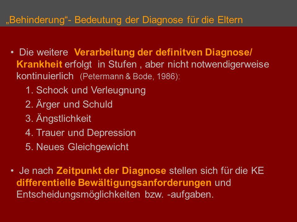 Behinderung- Bedeutung der Diagnose für die Eltern Die weitere Verarbeitung der definitven Diagnose/ Krankheit erfolgt in Stufen, aber nicht notwendigerweise kontinuierlich (Petermann & Bode, 1986): 1.