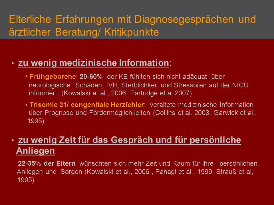 Elterliche Erfahrungen mit Diagnosegesprächen und ärztlicher Beratung/ Kritikpunkte zu wenig medizinische Information: Frühgeborene: 20-60% der KE füh