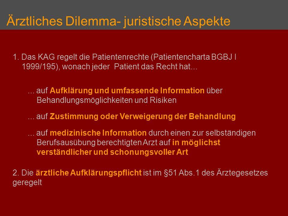 Ärztliches Dilemma- juristische Aspekte 1. Das KAG regelt die Patientenrechte (Patientencharta BGBJ I 1999/195), wonach jeder Patient das Recht hat...
