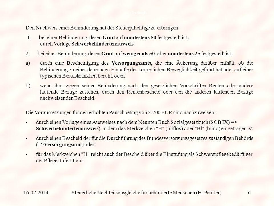 Steuerliche Nachteilsausgleiche für behinderte Menschen (H.