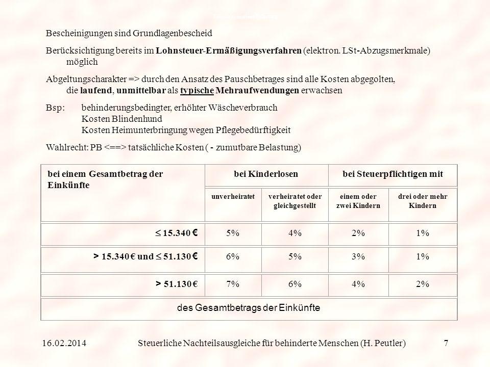 Steuerliche Nachteilsausgleiche für behinderte Menschen (H. Peutler) Die Voraussetzungen für den erhöhten Pauschbetrag von 3.700 EUR sind nachzuweisen