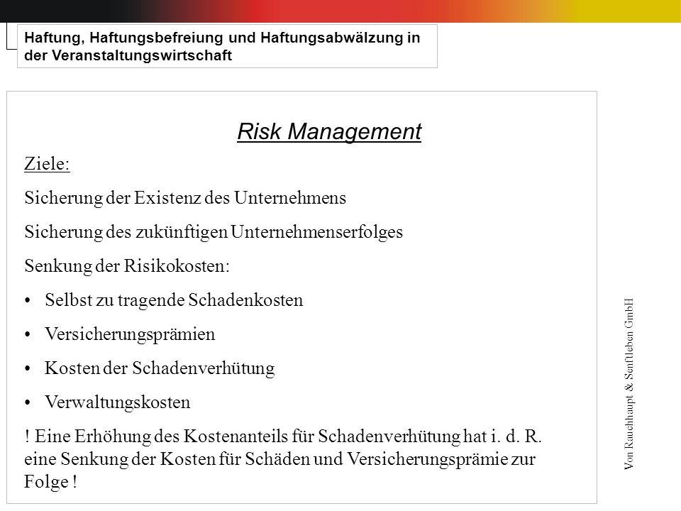Haftung, Haftungsbefreiung und Haftungsabwälzung in der Veranstaltungswirtschaft Risk Management Ziele: Sicherung der Existenz des Unternehmens Sicher