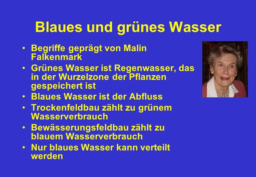 Blaues und grünes Wasser Begriffe geprägt von Malin Falkenmark Grünes Wasser ist Regenwasser, das in der Wurzelzone der Pflanzen gespeichert ist Blaues Wasser ist der Abfluss Trockenfeldbau zählt zu grünem Wasserverbrauch Bewässerungsfeldbau zählt zu blauem Wasserverbrauch Nur blaues Wasser kann verteilt werden