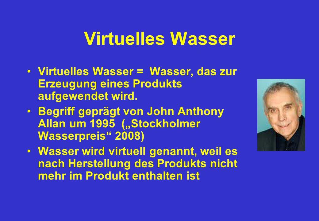 Virtuelles Wasser Virtuelles Wasser = Wasser, das zur Erzeugung eines Produkts aufgewendet wird.
