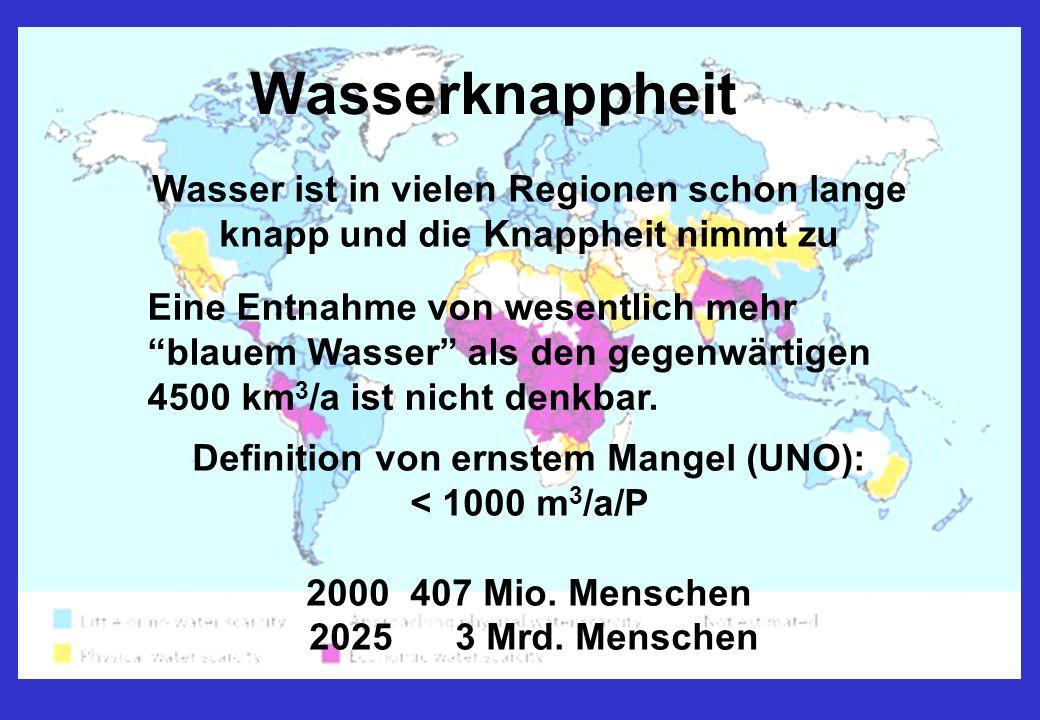 Wasser ist in vielen Regionen schon lange knapp und die Knappheit nimmt zu Definition von ernstem Mangel (UNO): < 1000 m 3 /a/P 2000 407 Mio.
