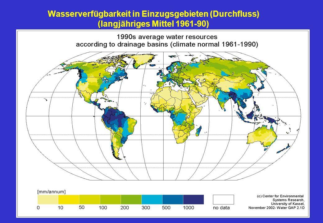 ( Wasserverfügbarkeit in Einzugsgebieten (Durchfluss) (langjähriges Mittel 1961-90)