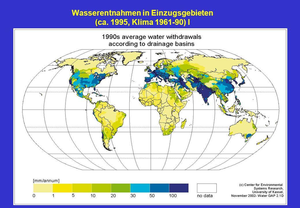 ( Wasserentnahmen in Einzugsgebieten (ca. 1995, Klima 1961-90) l