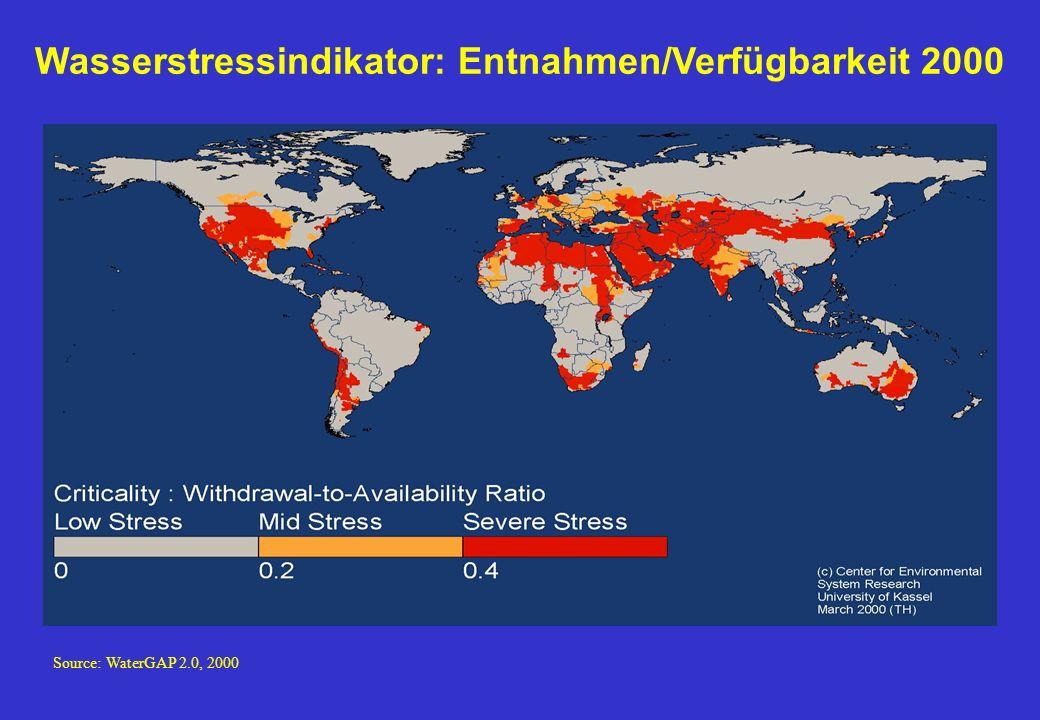 Source: WaterGAP 2.0, 2000 Wasserstressindikator: Entnahmen/Verfügbarkeit 2000