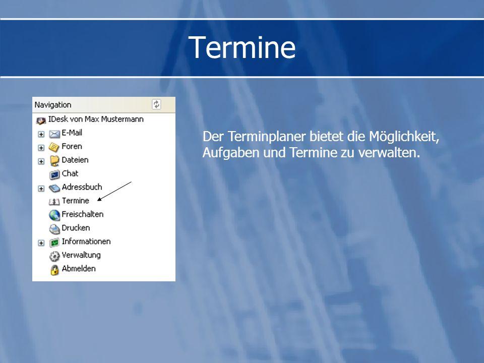 Das gemeinsame Adressbuch enthält eine Suchmaschine zum Auffinden von Benutzerdaten. Zu jedem Benutzer findet man Name, Email- und Homepageadresse und