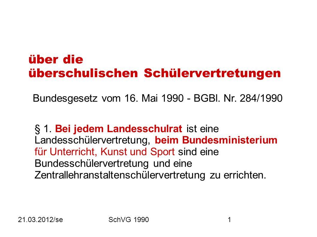 21.03.2012/seSchVG 19901 über die überschulischen Schülervertretungen Bundesgesetz vom 16.
