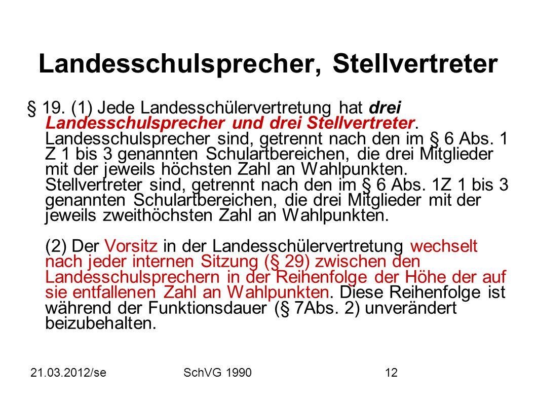 21.03.2012/seSchVG 199012 Landesschulsprecher, Stellvertreter § 19.