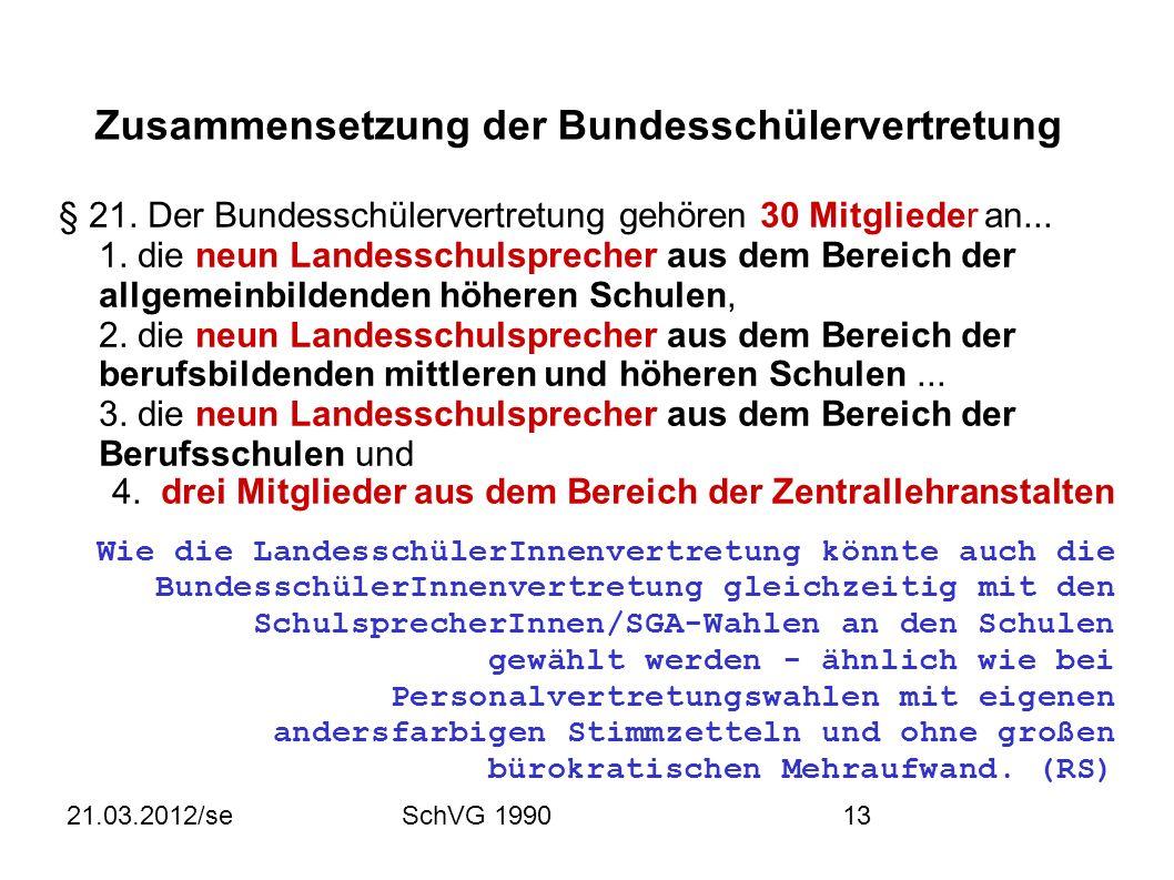 21.03.2012/seSchVG 199013 Zusammensetzung der Bundesschülervertretung § 21.