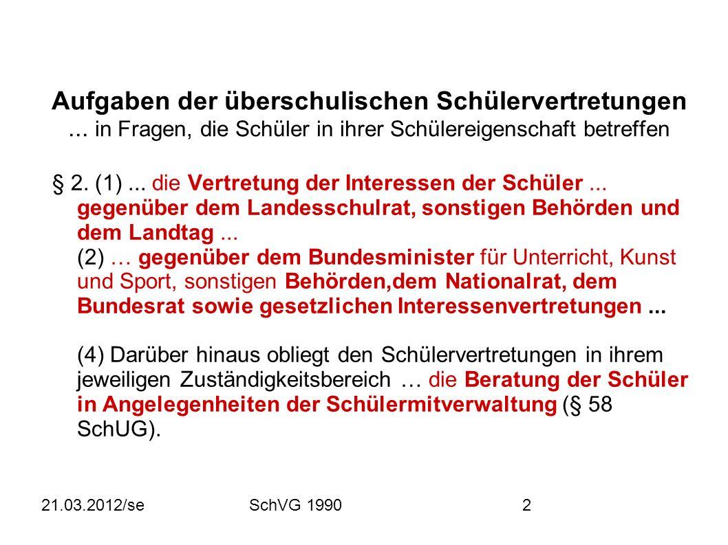 21.03.2012/seSchVG 19902 Aufgaben der überschulischen Schülervertretungen...