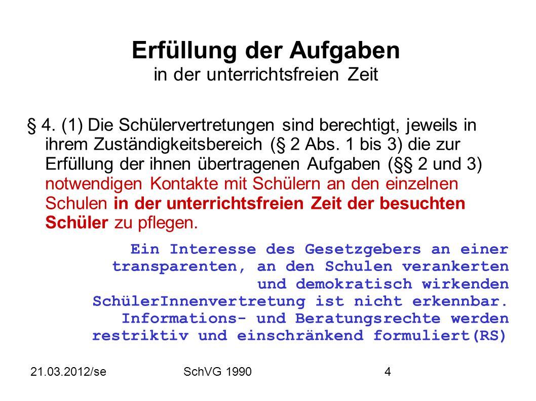21.03.2012/seSchVG 199015 Verfahren der Schülervertretungen § 29.