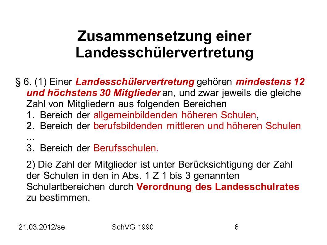 21.03.2012/seSchVG 19906 Zusammensetzung einer Landesschülervertretung § 6.
