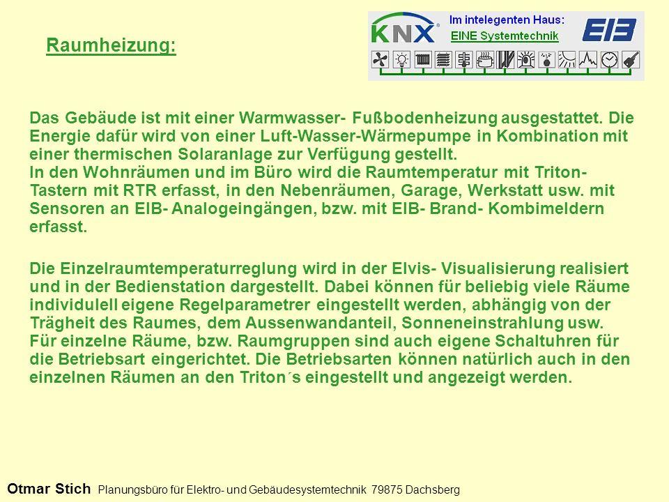Heizungsregelung: Otmar Stich Planungsbüro für Elektro- und Gebäudesystemtechnik 79875 Dachsberg An den Schiebereglern wir die Solltemperatur der jeweiligen Betriebsart eingestellt.
