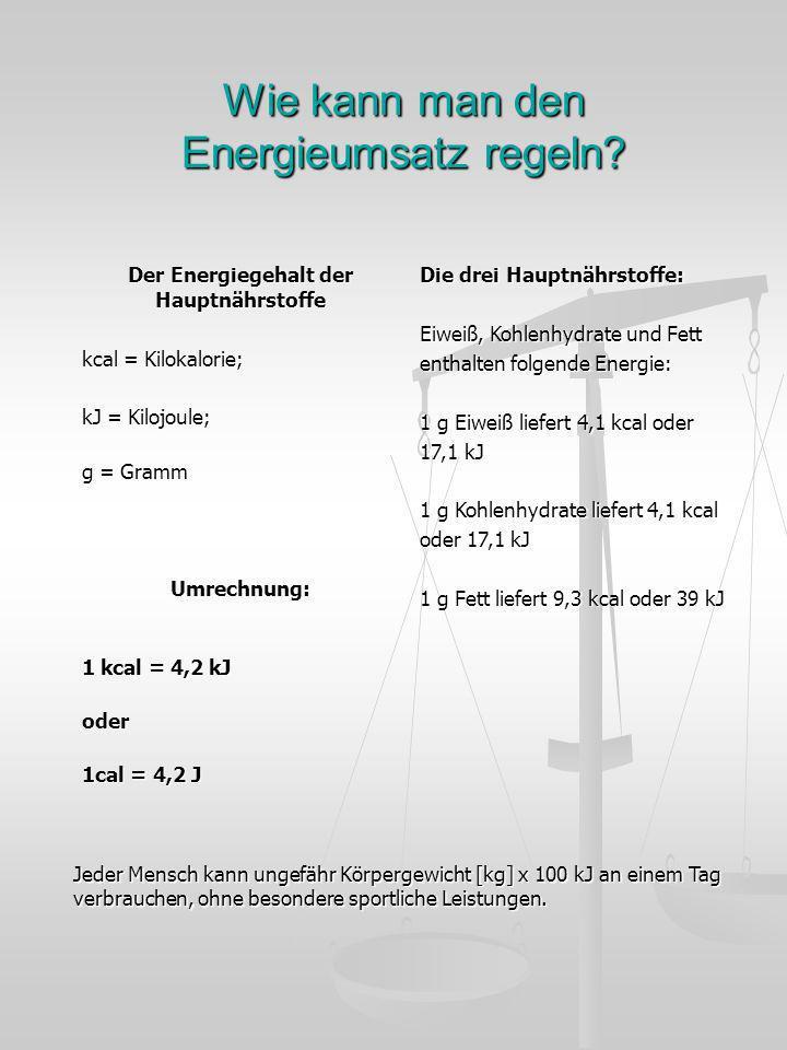 Wie kann man den Energieumsatz regeln? Der Energiegehalt der Hauptnährstoffe kcal = Kilokalorie; kJ = Kilojoule; g = Gramm Umrechnung: 1 kcal = 4,2 kJ