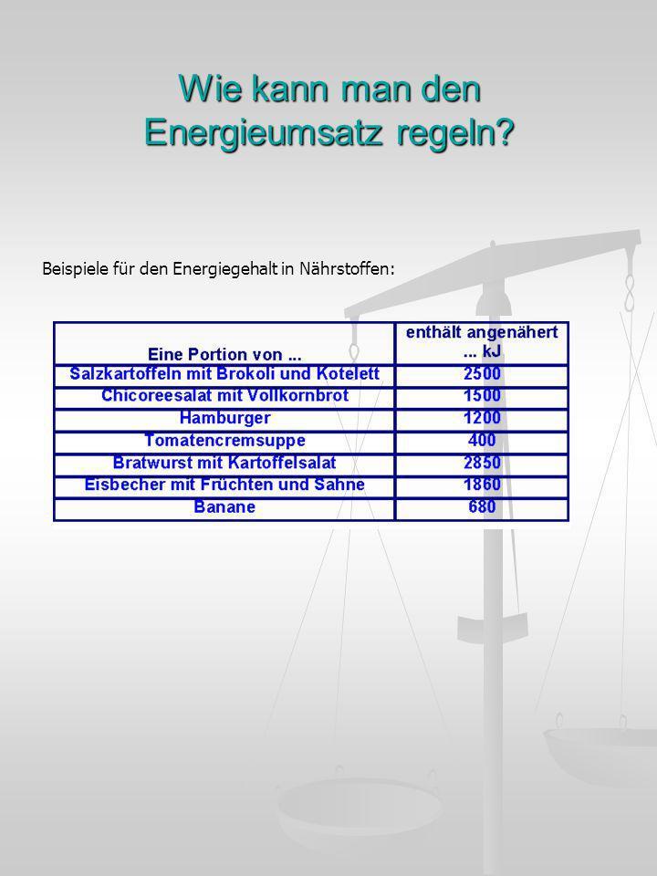 Wie kann man den Energieumsatz regeln? Beispiele für den Energiegehalt in Nährstoffen: