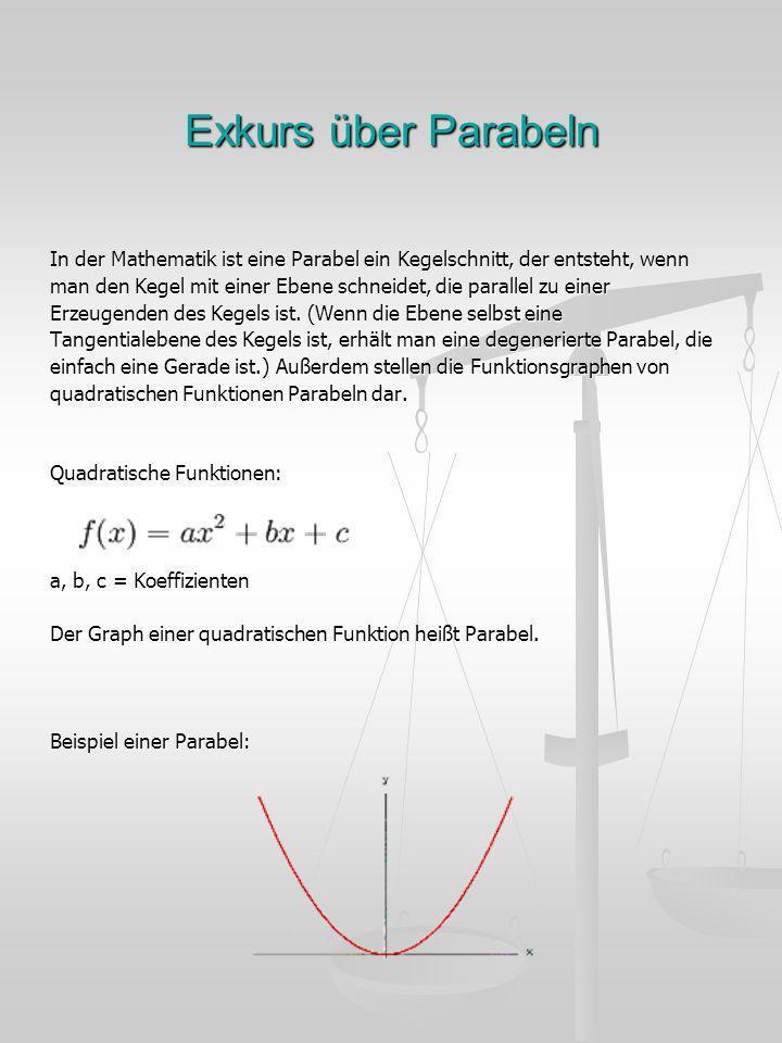 Exkurs über Parabeln In der Mathematik ist eine Parabel ein Kegelschnitt, der entsteht, wenn man den Kegel mit einer Ebene schneidet, die parallel zu