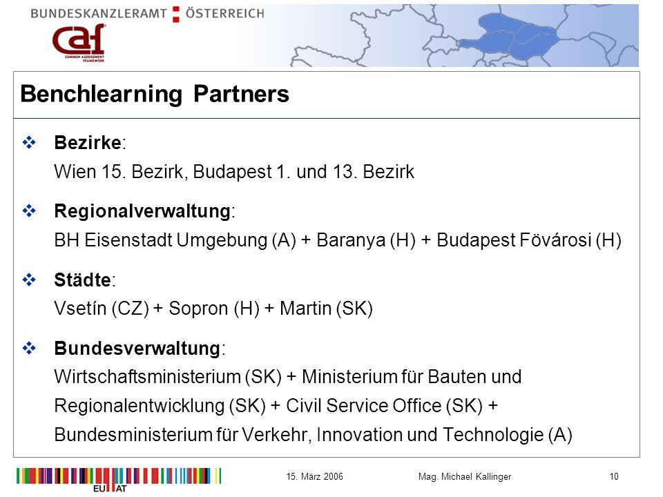 1015.März 2006Mag. Michael Kallinger Benchlearning Partners Bezirke: Wien 15.