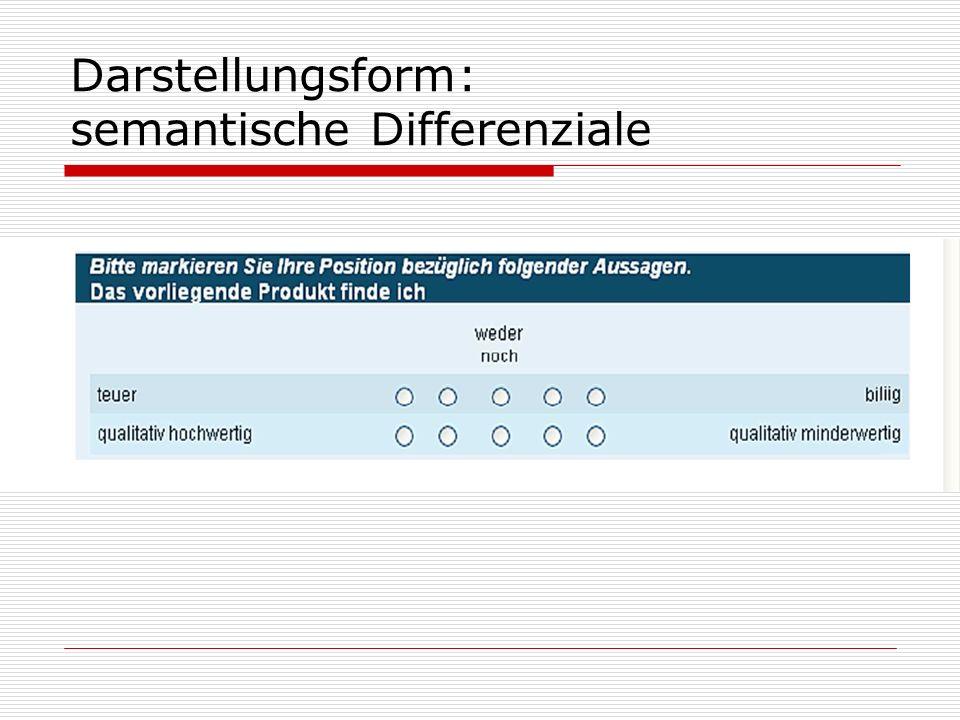 Darstellungsform: semantische Differenziale