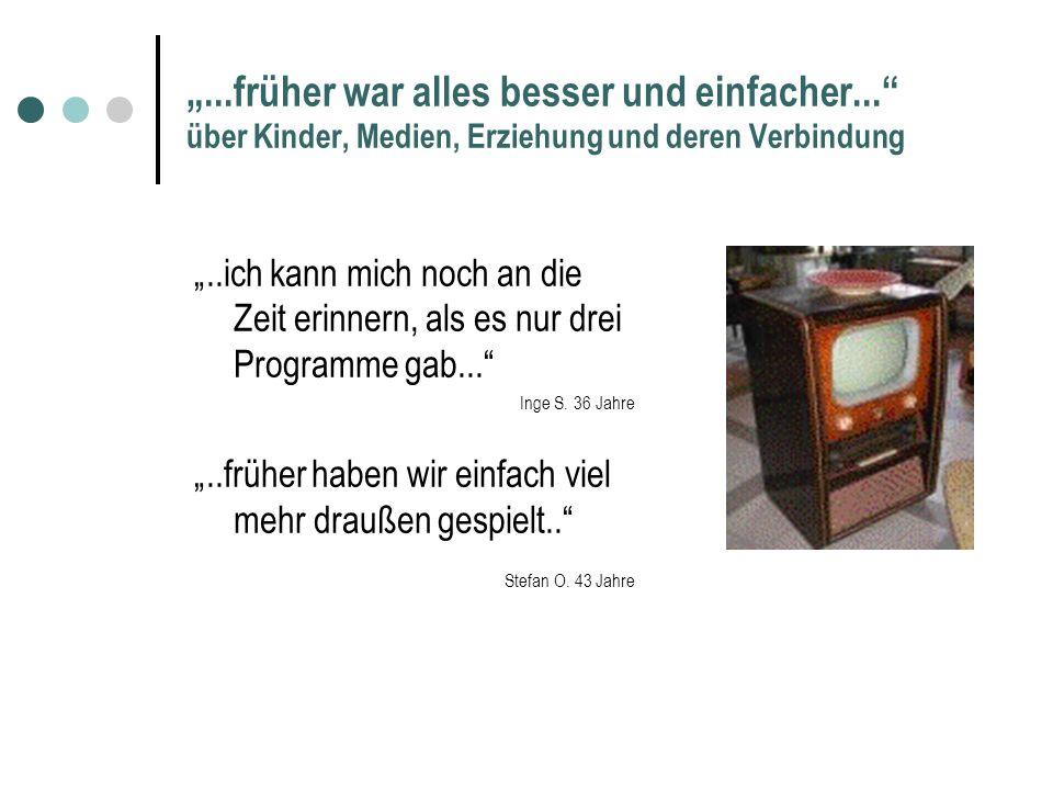 ...früher war alles besser und einfacher... über Kinder, Medien, Erziehung und deren Verbindung Vortrag und Diskussion Büsum 16.05.06