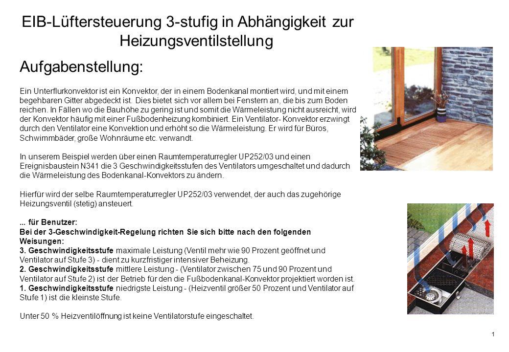 2 EIB-Lüftersteuerung 3-stufig in Abhängigkeit zur Heizungsventilstellung verwendete Geräte: