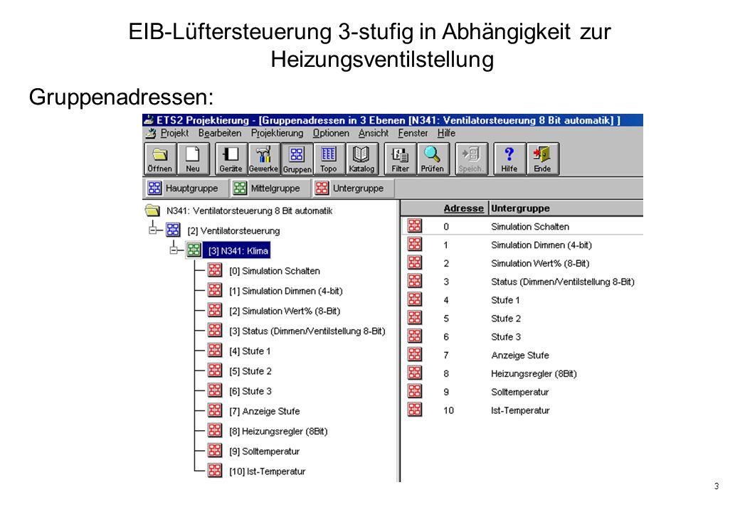 3 EIB-Lüftersteuerung 3-stufig in Abhängigkeit zur Heizungsventilstellung Gruppenadressen: