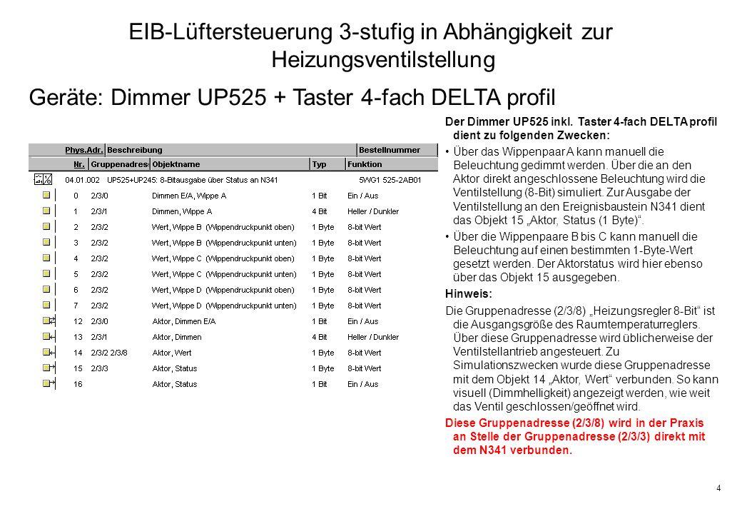 4 EIB-Lüftersteuerung 3-stufig in Abhängigkeit zur Heizungsventilstellung Geräte: Dimmer UP525 + Taster 4-fach DELTA profil Der Dimmer UP525 inkl.