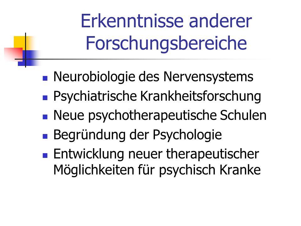 Erkenntnisse anderer Forschungsbereiche Neurobiologie des Nervensystems Psychiatrische Krankheitsforschung Neue psychotherapeutische Schulen Begründun