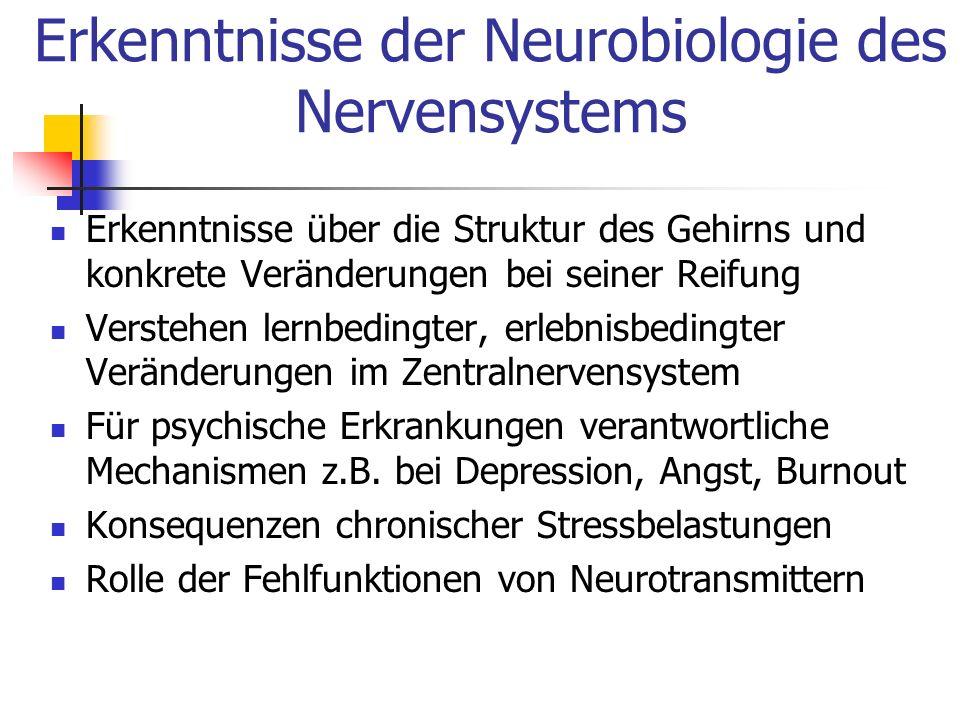 Erkenntnisse der Neurobiologie des Nervensystems Erkenntnisse über die Struktur des Gehirns und konkrete Veränderungen bei seiner Reifung Verstehen le