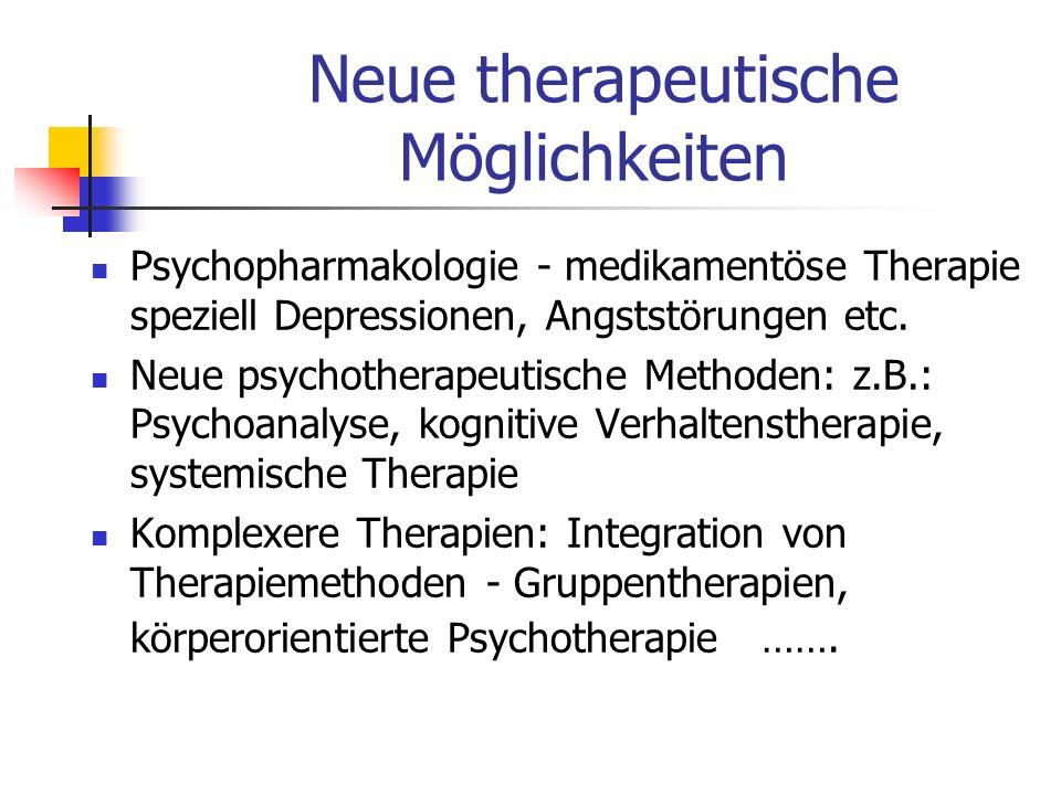 Psychopharmakologie - medikamentöse Therapie speziell Depressionen, Angststörungen etc. Neue psychotherapeutische Methoden: z.B.: Psychoanalyse, kogni
