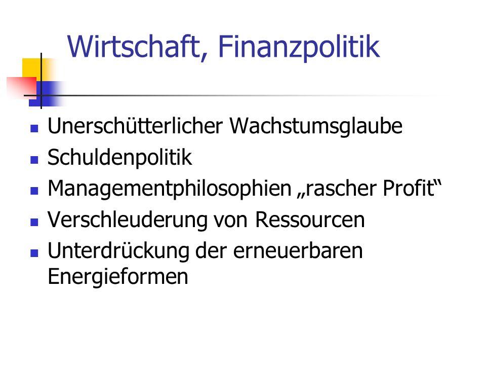 Wirtschaft, Finanzpolitik Unerschütterlicher Wachstumsglaube Schuldenpolitik Managementphilosophien rascher Profit Verschleuderung von Ressourcen Unte
