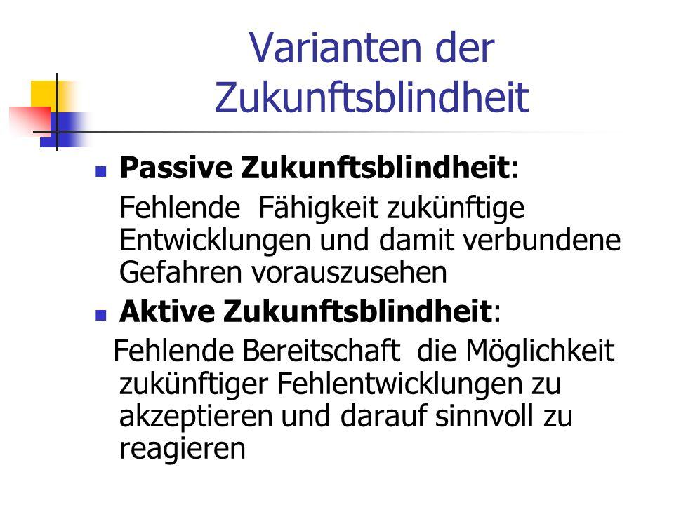 Varianten der Zukunftsblindheit Passive Zukunftsblindheit: Fehlende Fähigkeit zukünftige Entwicklungen und damit verbundene Gefahren vorauszusehen Akt