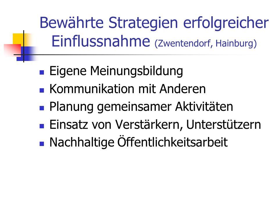 Bewährte Strategien erfolgreicher Einflussnahme (Zwentendorf, Hainburg) Eigene Meinungsbildung Kommunikation mit Anderen Planung gemeinsamer Aktivität
