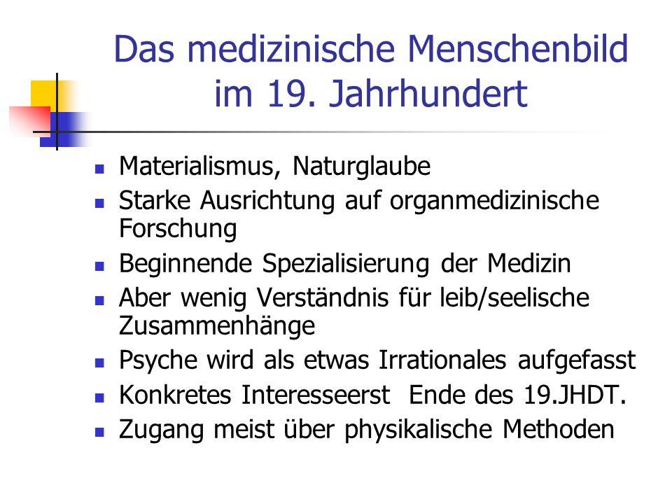 Das medizinische Menschenbild im 19. Jahrhundert Materialismus, Naturglaube Starke Ausrichtung auf organmedizinische Forschung Beginnende Spezialisier