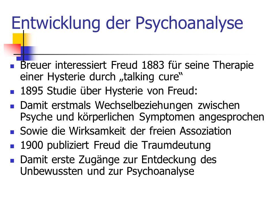 Entwicklung der Psychoanalyse Breuer interessiert Freud 1883 für seine Therapie einer Hysterie durch talking cure 1895 Studie über Hysterie von Freud: