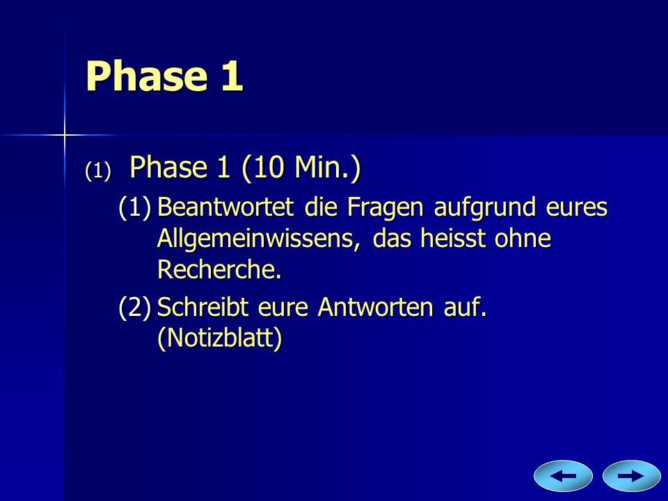 Phase 1 (1) P hase 1 (10 Min.) (1)B eantwortet die Fragen aufgrund eures Allgemeinwissens, das heisst ohne Recherche. (2)S chreibt eure Antworten auf.
