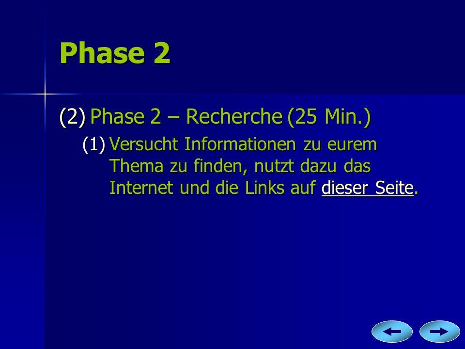 Phase 2 (2)P hase 2 – Recherche (25 Min.) (1)V ersucht Informationen zu eurem Thema zu finden, nutzt dazu das Internet und die Links auf d d d d d iii