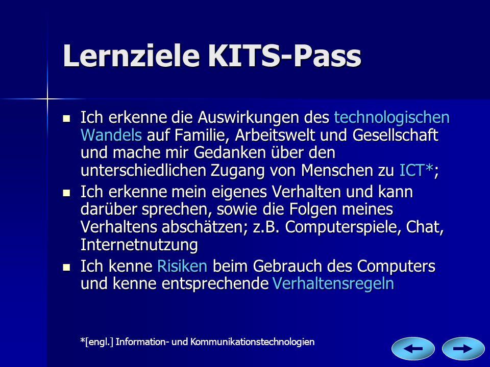 Lernziele KITS-Pass Ich erkenne die Auswirkungen des technologischen Wandels auf Familie, Arbeitswelt und Gesellschaft und mache mir Gedanken über den