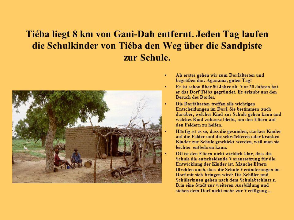 Tiéba liegt 8 km von Gani-Dah entfernt. Jeden Tag laufen die Schulkinder von Tiéba den Weg über die Sandpiste zur Schule. Als erstes gehen wir zum Dor