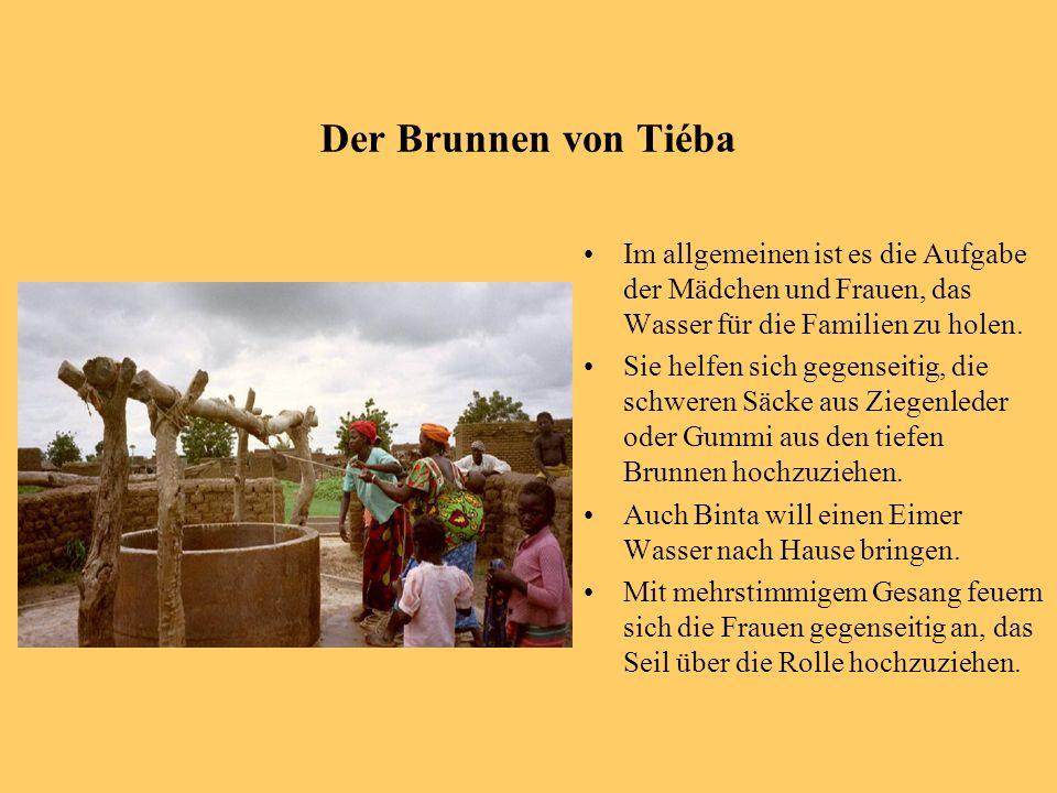 Der Brunnen von Tiéba Im allgemeinen ist es die Aufgabe der Mädchen und Frauen, das Wasser für die Familien zu holen. Sie helfen sich gegenseitig, die