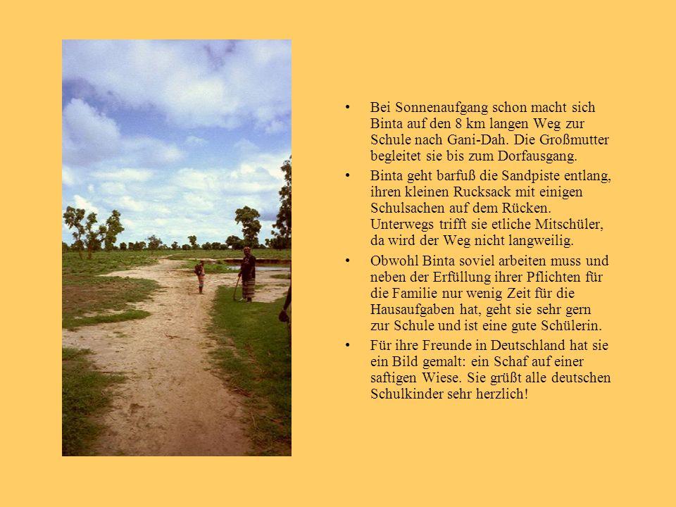 Bei Sonnenaufgang schon macht sich Binta auf den 8 km langen Weg zur Schule nach Gani-Dah. Die Großmutter begleitet sie bis zum Dorfausgang. Binta geh