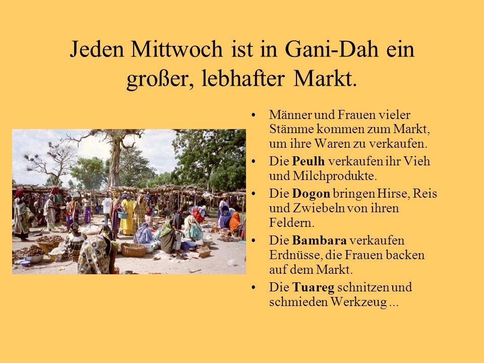 Jeden Mittwoch ist in Gani-Dah ein großer, lebhafter Markt. Männer und Frauen vieler Stämme kommen zum Markt, um ihre Waren zu verkaufen. Die Peulh ve