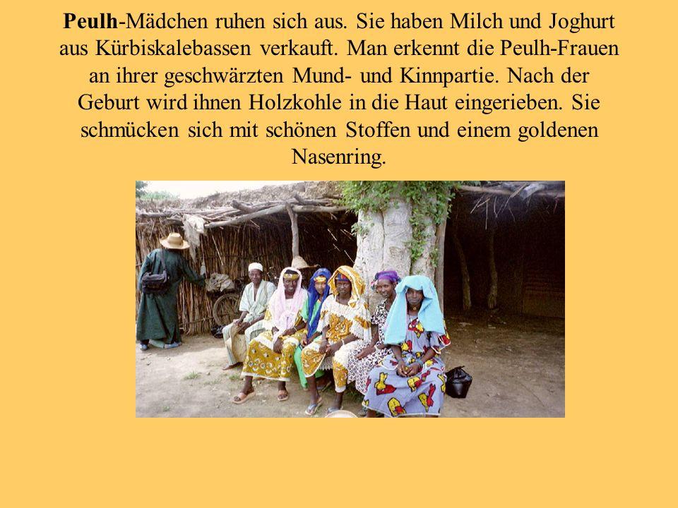 Peulh-Mädchen ruhen sich aus. Sie haben Milch und Joghurt aus Kürbiskalebassen verkauft. Man erkennt die Peulh-Frauen an ihrer geschwärzten Mund- und