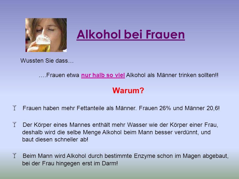Alkohol bei Frauen Wussten Sie dass… ….Frauen etwa nur halb so viel Alkohol als Männer trinken sollten!! Warum? Frauen haben mehr Fettanteile als Männ