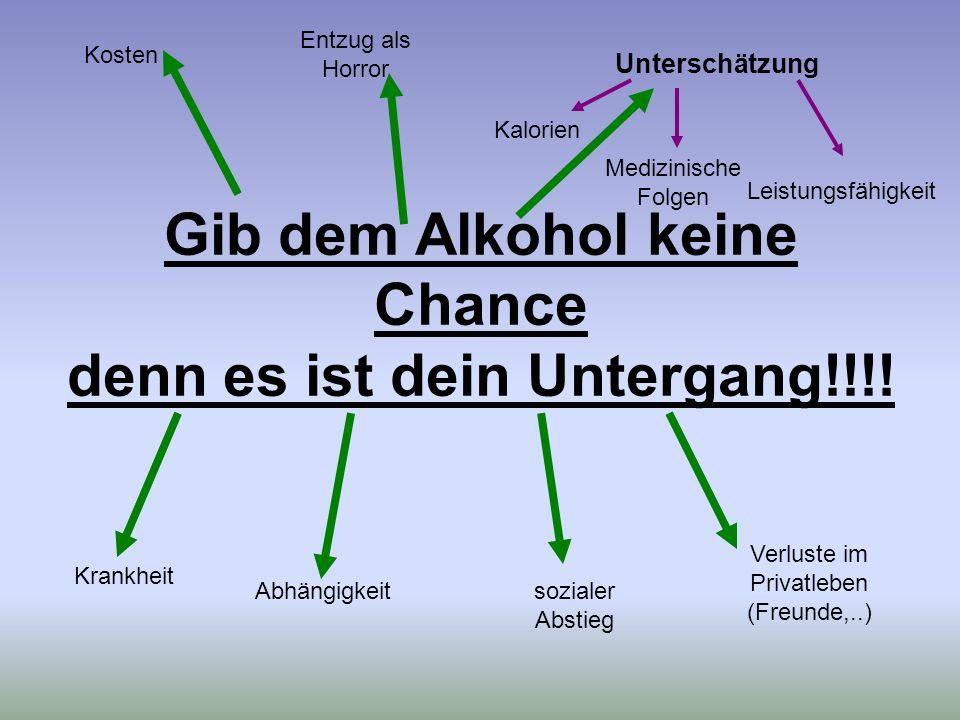 Gib dem Alkohol keine Chance denn es ist dein Untergang!!!! Krankheit Abhängigkeitsozialer Abstieg Verluste im Privatleben (Freunde,..) Kosten Entzug