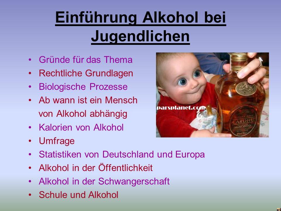 Einführung Alkohol bei Jugendlichen Gründe für das Thema Rechtliche Grundlagen Biologische Prozesse Ab wann ist ein Mensch von Alkohol abhängig Kalori