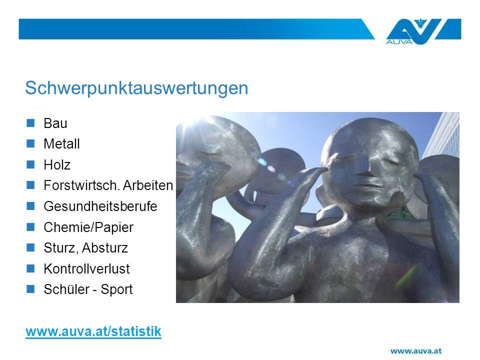 Schwerpunktauswertungen Bau Metall Holz Forstwirtsch. Arbeiten Gesundheitsberufe Chemie/Papier Sturz, Absturz Kontrollverlust Schüler - Sport www.auva