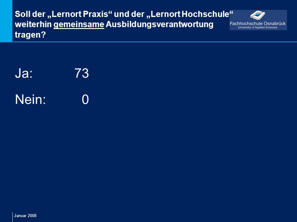 Januar 2008 Soll der Lernort Praxis und der Lernort Hochschule weiterhin gemeinsame Ausbildungsverantwortung tragen? Ja:73 Nein: 0